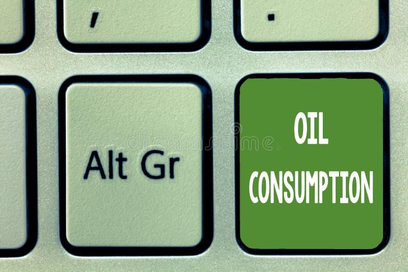 Потребление нефти текста сочинительства слова Концепция дела для этого входа полное масло уничтоженное в бочонках в день стоковое изображение rf