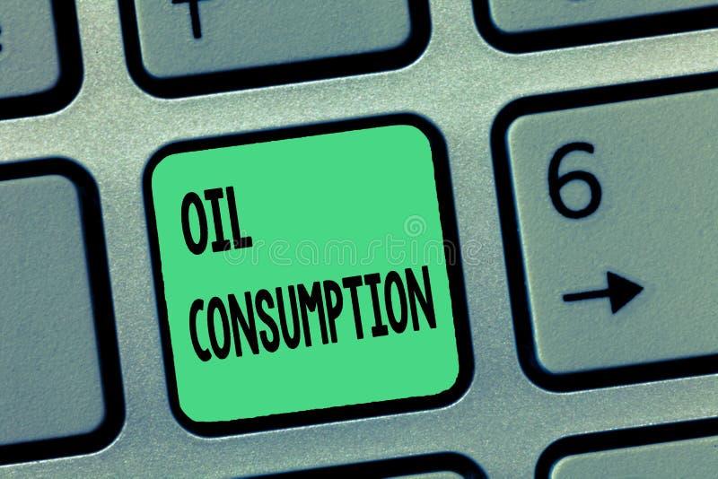 Потребление нефти текста сочинительства слова Концепция дела для этого входа полное масло уничтоженное в бочонках в день стоковая фотография