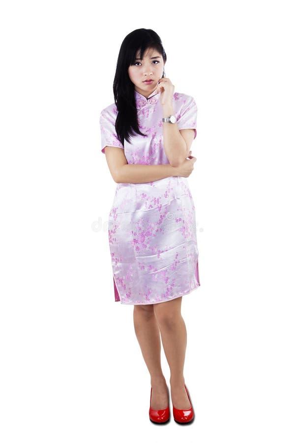 Потревоженная азиатская женщина стоковые изображения