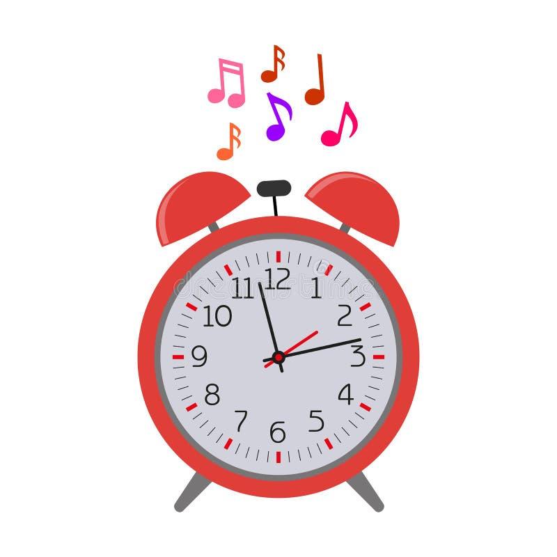 потревоженный Музыка звенеть будильника также вектор иллюстрации притяжки corel иллюстрация вектора