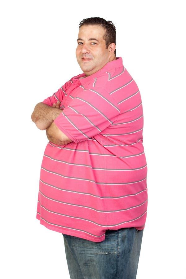 Потревоженный тучный человек с розовой рубашкой стоковые фото