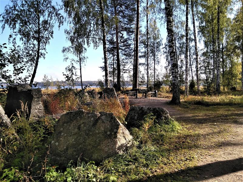 Потрясающее место для отдыха у стороны красивой велосипедной тропы стоковая фотография rf