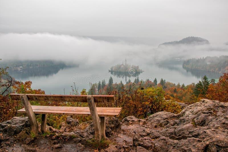 Потрясающий вид на озеро Блед на туманном осеннем утреннем столе с деревянной скамью на переднем плане стоковая фотография