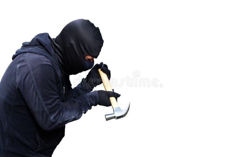 Похититель держит молоток для ломать на белизне стоковое изображение rf