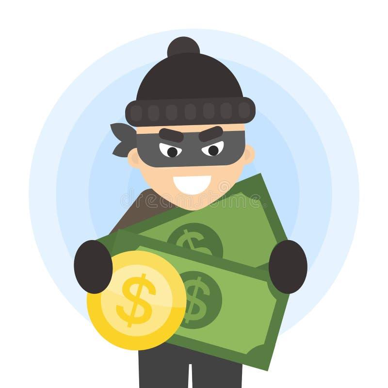 Похититель с деньгами иллюстрация вектора