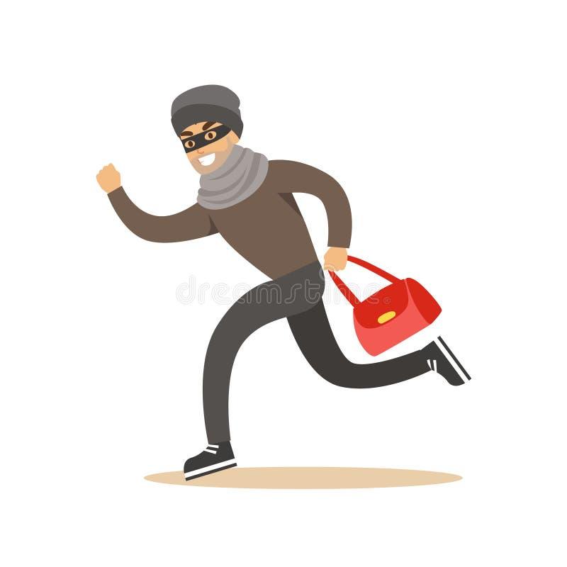 Похититель бежать с украденной красной сумкой Красочная иллюстрация вектора персонажа из мультфильма иллюстрация штока