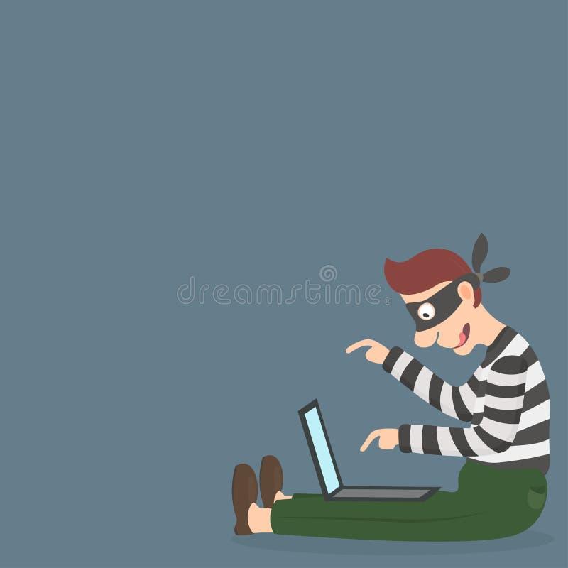 Похититель в маске крадя персональную информацию через интернет иллюстрация вектора