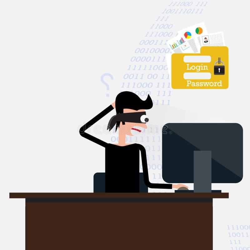 похититель Хакер крадя уязвимые данные как пароли от персонального компьютера иллюстрация вектора