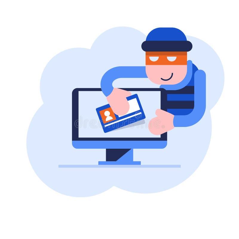 Похищение личных данных от компьютера иллюстрация вектора