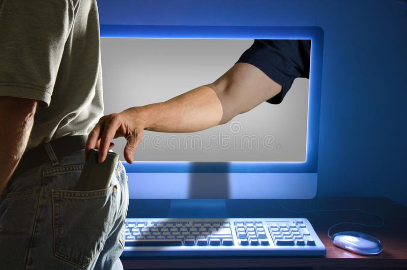 Похищение тождественности компьютера стоковое изображение rf