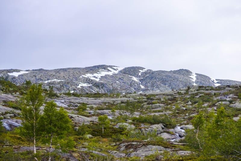 Поход Trolltunga, озеро Ringedalsvatnet, Норвегия, красивый скандинавский ландшафт, Scandianavia, природа лета Поход начинает от стоковое изображение rf