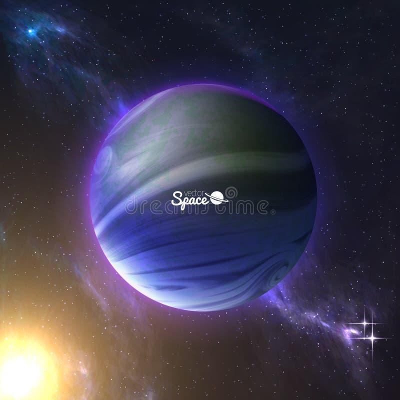 похожая на Земл планета и солнце позади на предпосылке космоса Exoplanet с атмосферой также вектор иллюстрации притяжки corel иллюстрация штока