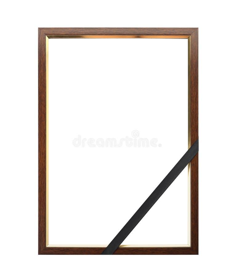 Похоронная рамка фото с черной лентой стоковая фотография