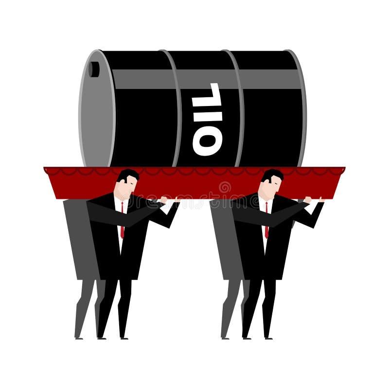Похоронное масло Гроб снесенный баррелем нефти внутри Похороненные бизнесмены иллюстрация вектора