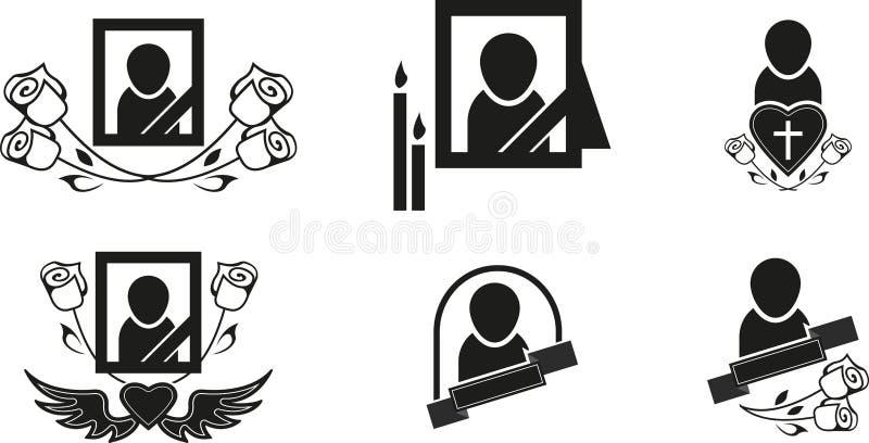 Похоронные символы иллюстрация штока