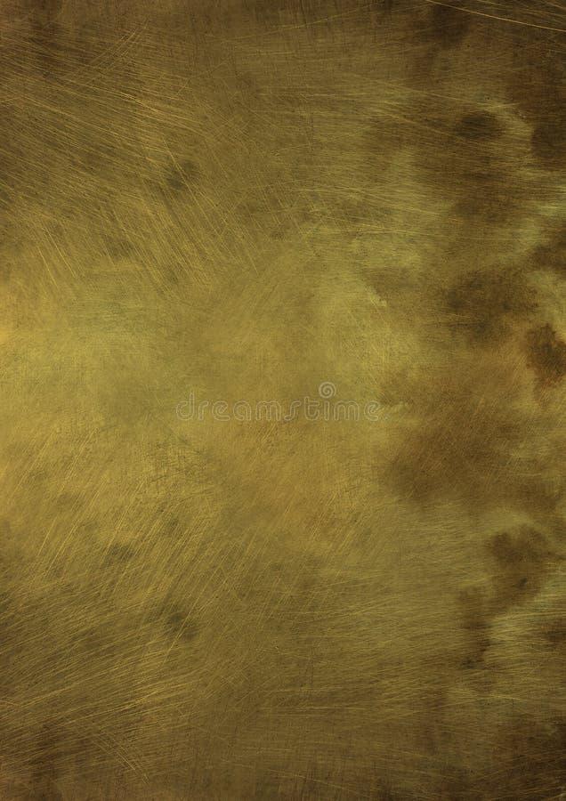 Поцарапанная бронзовая металлическая пластина стоковое фото