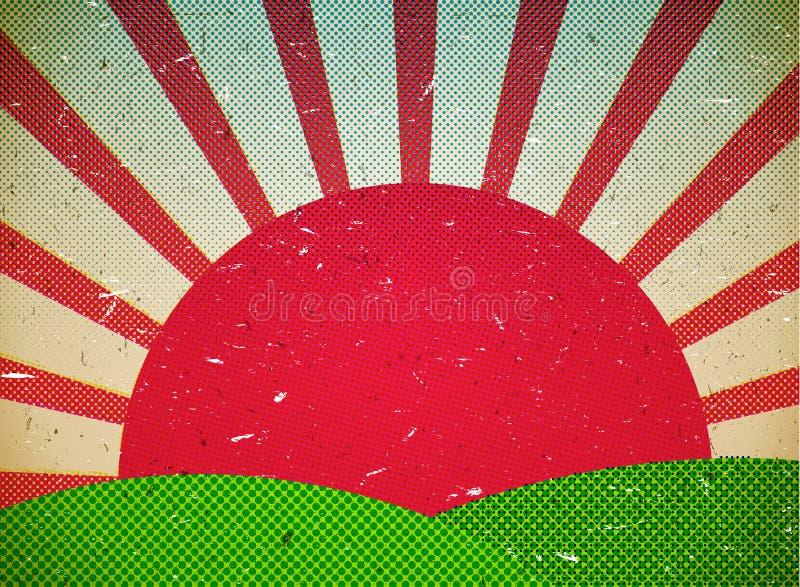 Поцарапанная карточка картона с солнцем иллюстрация вектора