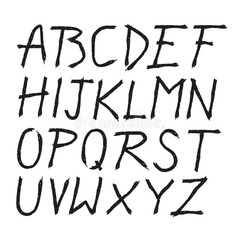 Поцарапанная нарисованная рука doodle помечает буквами шрифт бесплатная иллюстрация