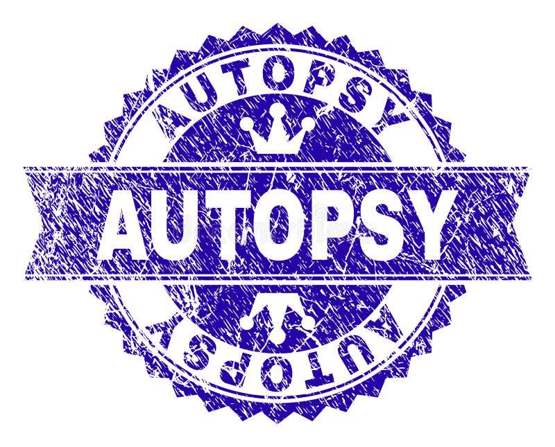 Поцарапанное текстурированное уплотнение печати АУТОПСИИ с лентой иллюстрация штока