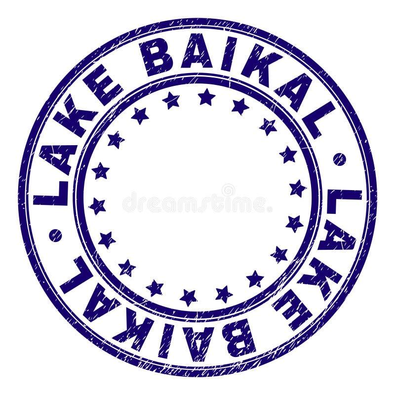 Поцарапанное текстурированное LAKE BAIKAL вокруг уплотнения печати иллюстрация вектора