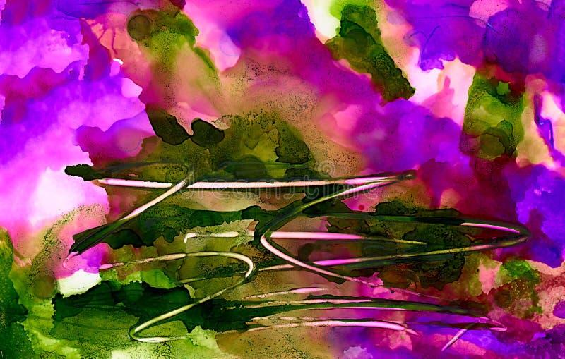 Поцарапанный зеленый цвет абстрактной краски фиолетовый иллюстрация штока