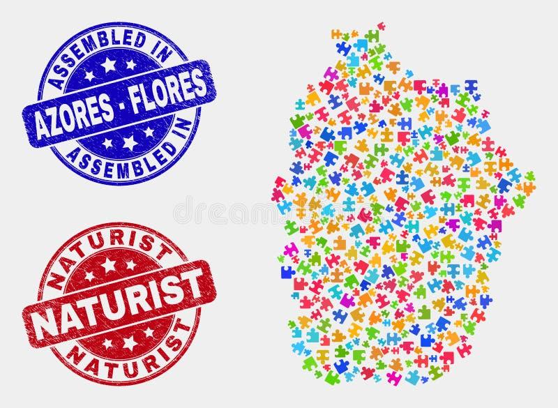 Поцарапанный остров Flores головоломки карты Азорских островов и уплотнения собранные и Naturist бесплатная иллюстрация