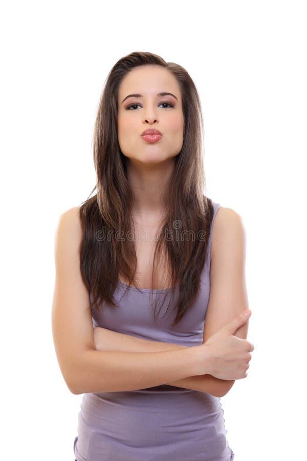 поцелуй брюнет дуновения сексуальный к женщине вы стоковое изображение rf