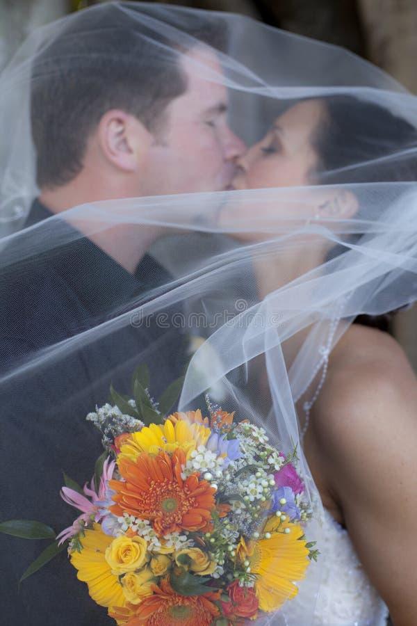 поцелуй под венчанием вуали стоковая фотография rf