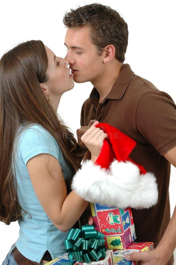 поцелуй рождества стоковая фотография rf