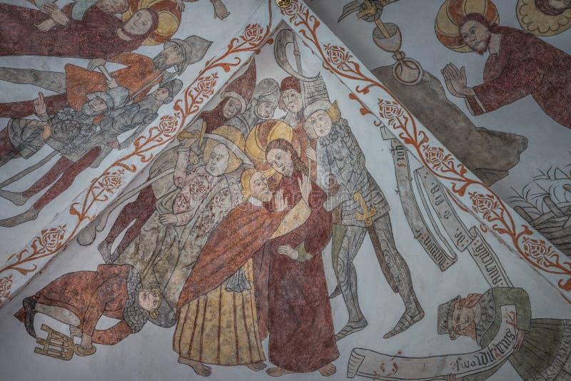 Поцелуй Judas в саде Gethsemane, средневековой фреске стоковая фотография rf
