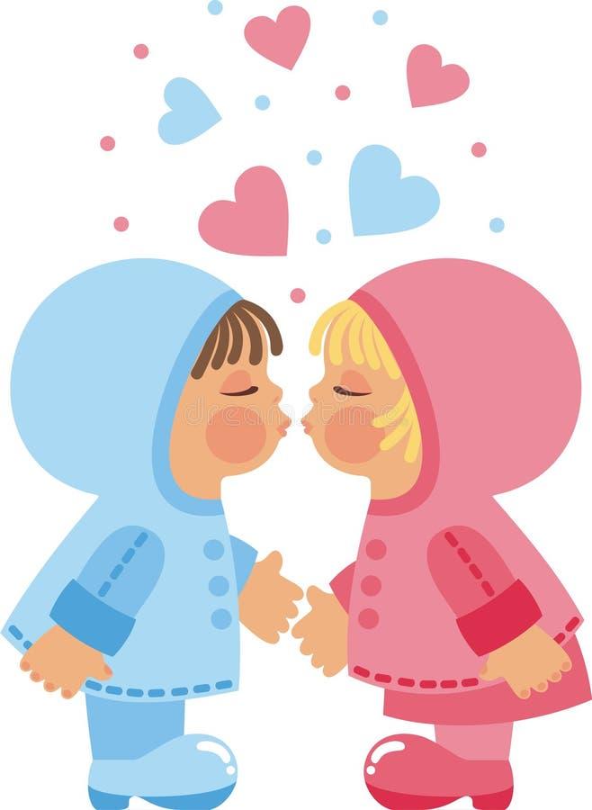 поцелуй s детей иллюстрация вектора
