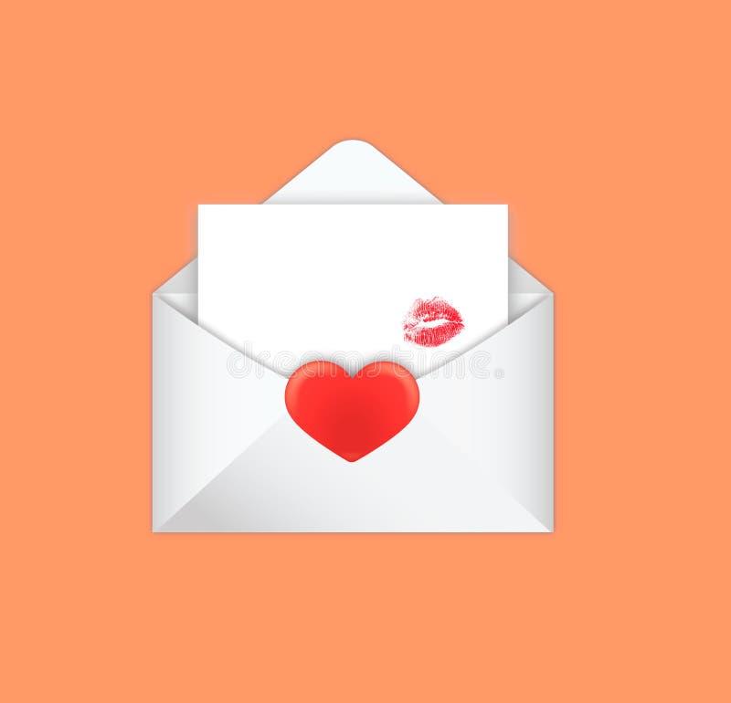 Поцелуй в конверте на день valentine's стоковые изображения