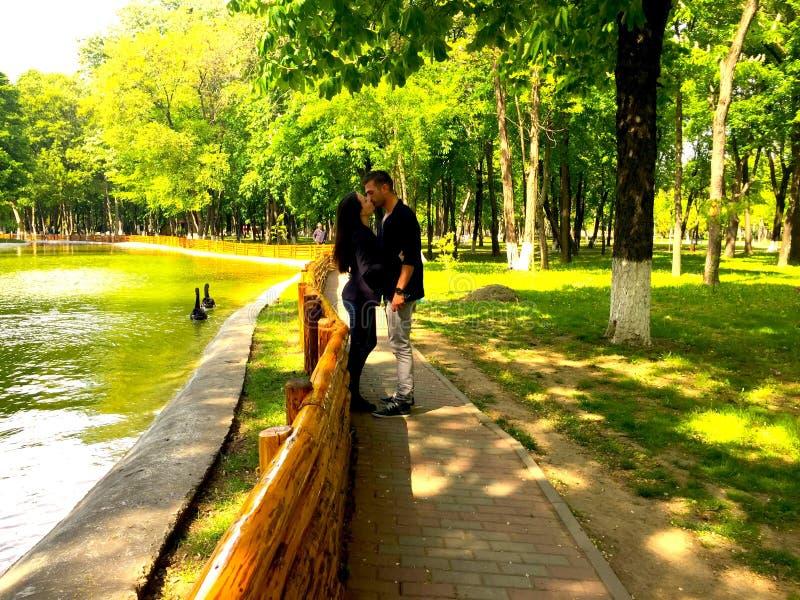 Поцелуй влюбленности вначале стоковая фотография rf