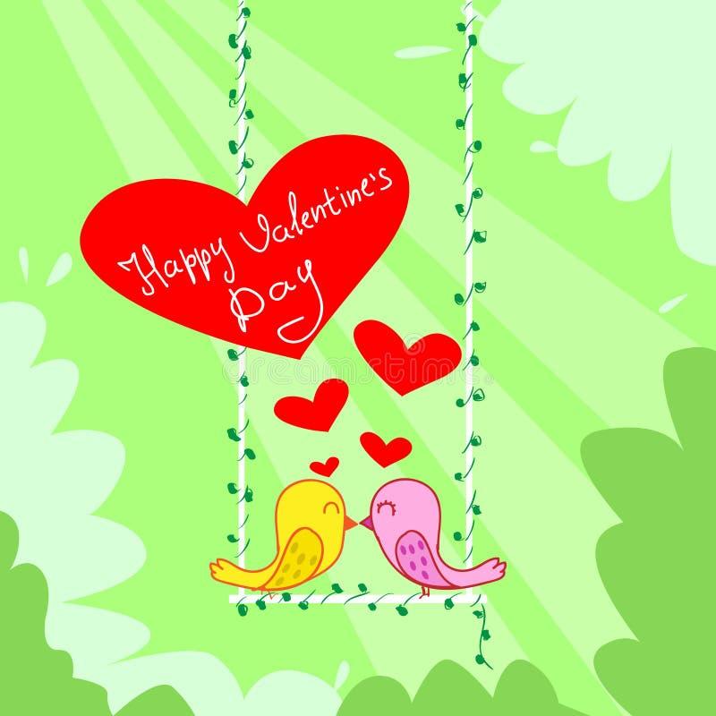 Поцелуй 2 пар птиц сидя на сердце красного цвета качания бесплатная иллюстрация