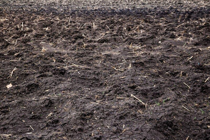Почва земли калибрует обрабатывать землю пазы почвы земли над полем Текстура органической почвы влияния Sepia естественная Тексту стоковое фото rf