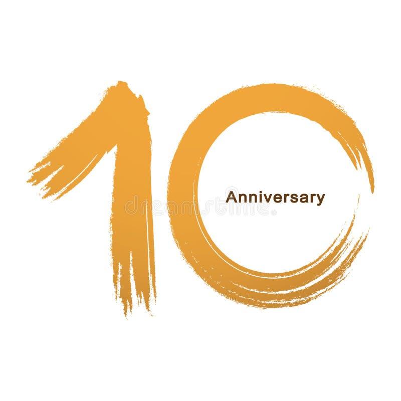 Почерк - краска празднуя, годовщина щетки годовщины года номера 10th иллюстрация штока