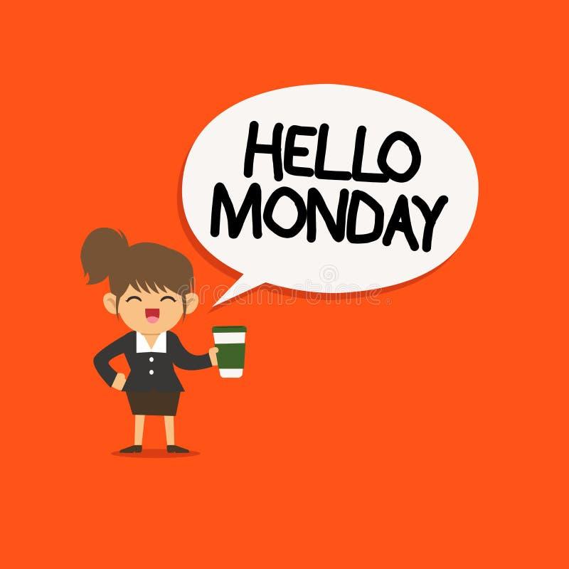 Почерк отправляет SMS здравствуйте понедельнику Сообщение смысла концепции приветствуя положительное для нового начала недели дня иллюстрация штока