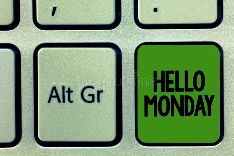 Почерк отправляет SMS здравствуйте понедельнику Сообщение смысла концепции приветствуя положительное для нового начала недели дня бесплатная иллюстрация