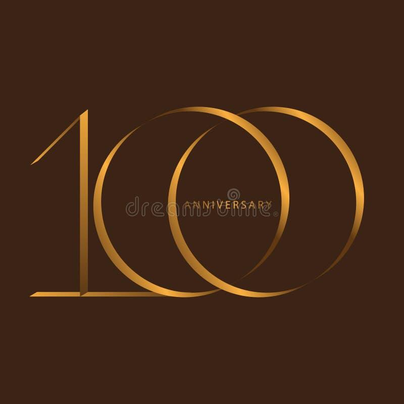 Почерк празднуя, годовщина годовщины столетия года номера 100th иллюстрация вектора