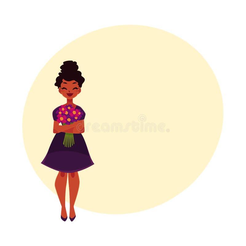 Почерните, Афро-американская женщина, девушка держа пук цветков поля иллюстрация вектора