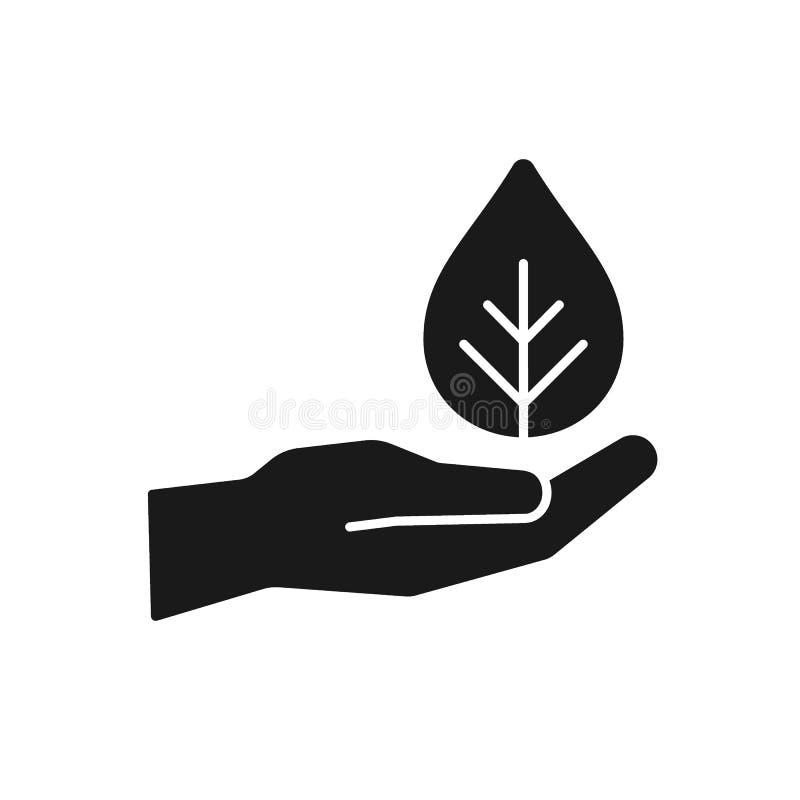 Почерните изолированный значок руки с лист на белой предпосылке Силуэт руки с лист, заводом иллюстрация вектора