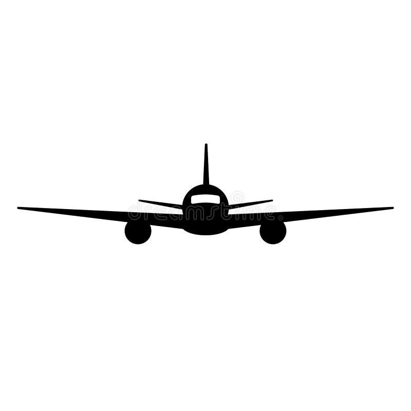 Почерните изолированный силуэт самолета на белой предпосылке Вид спереди аэроплана иллюстрация вектора