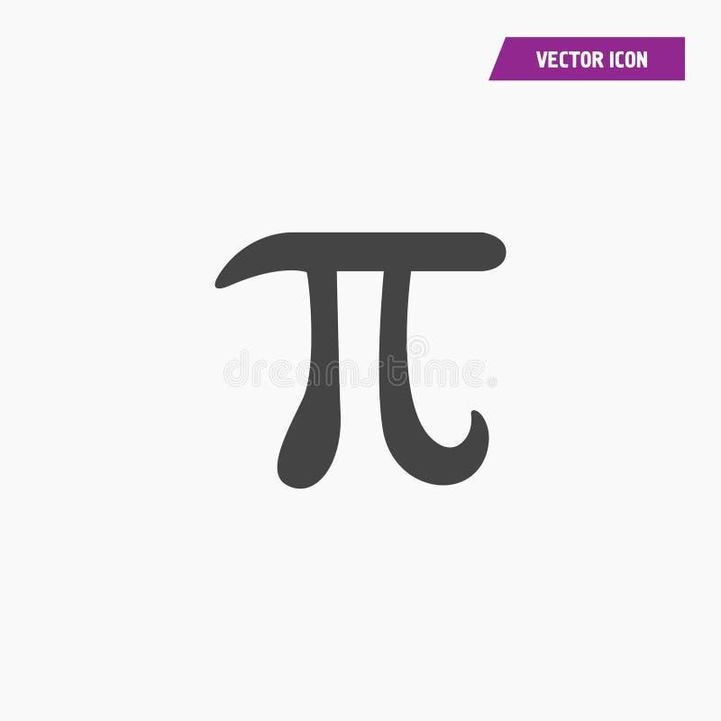 Почерните плоский греческий значок вектора символа Pi иллюстрация вектора