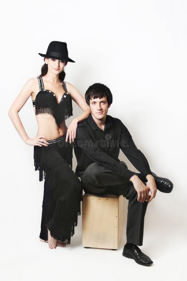 почерните танцоров пар над белизной стоковые фотографии rf