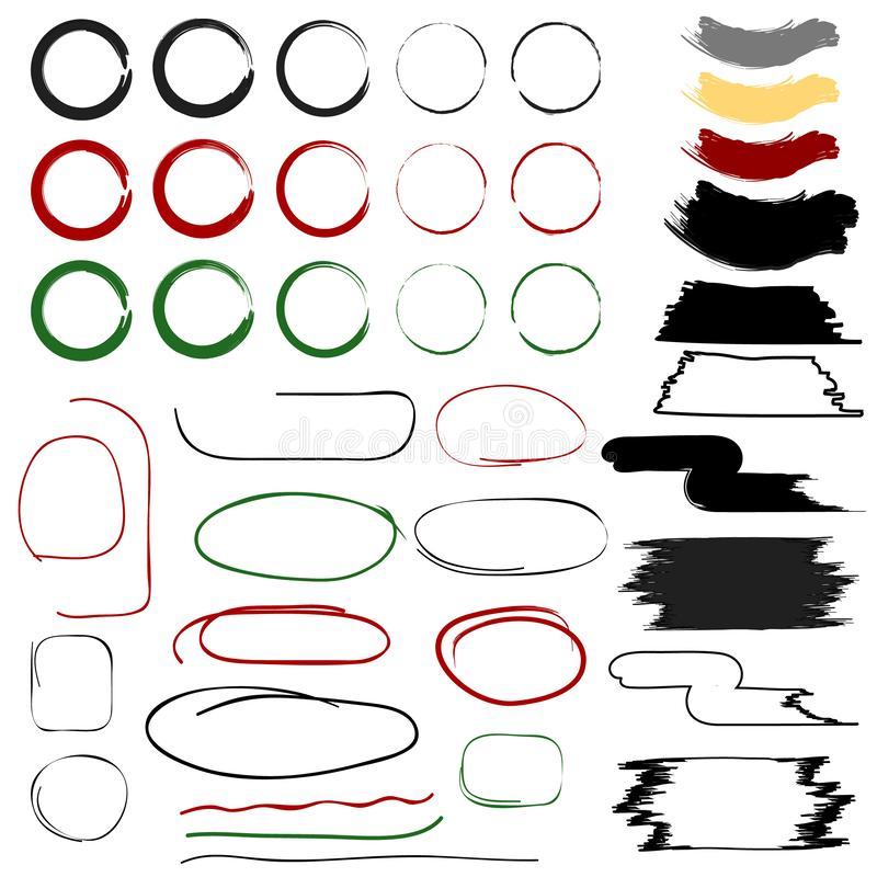 Почистьте покрашенные рамки, ходы, линии & круги щеткой для веб-дизайна иллюстрация штока