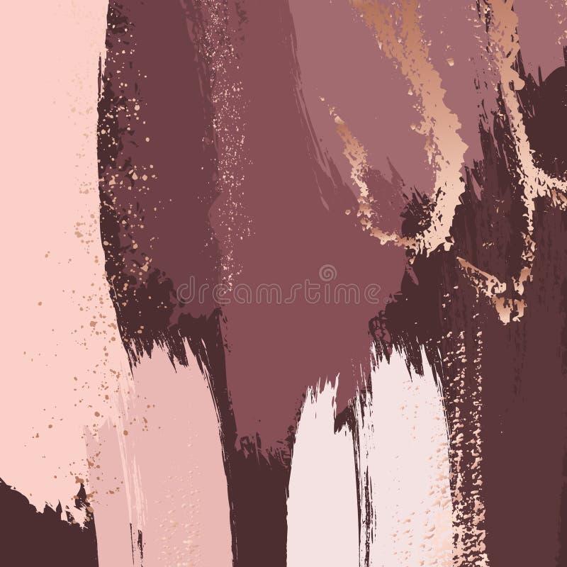 Почистьте ходы щеткой в нежных пылевоздушных розовых тонах и поднял яркий блеск золота брызгает Абстрактная предпосылка вектора Т бесплатная иллюстрация