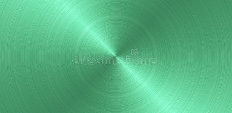 Почищенная щеткой круговая зеленая поверхность металла Текстура металла Предпосылка конспекта стальная панорамная иллюстрация вектора
