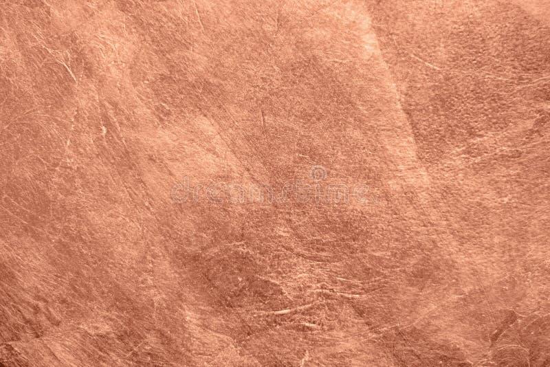 Почищенная щеткой медная металлическая текстурированная предпосылка стоковое фото rf