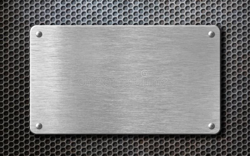 Почищенная щеткой стальная металлопластинчатая предпосылка с заклепками стоковая фотография