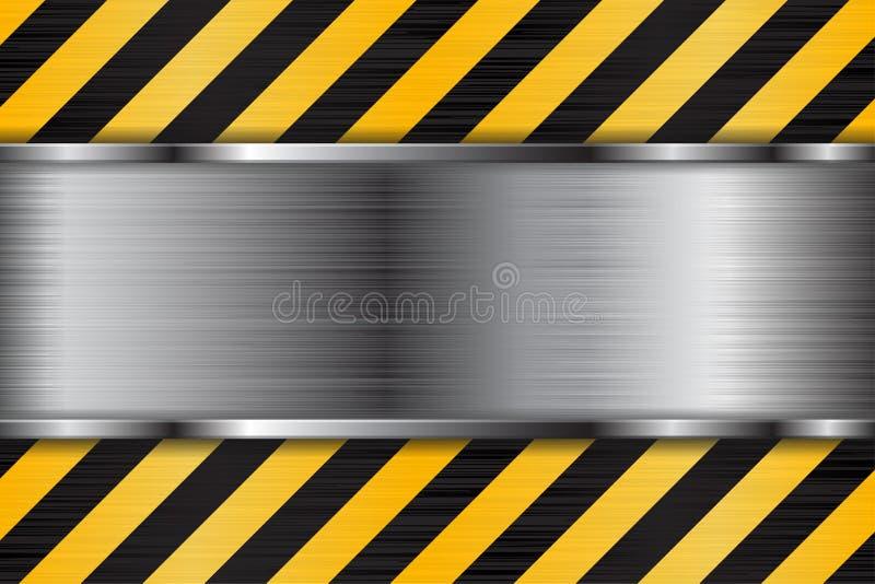 Почищенная щеткой текстура металла с черными желтыми нашивками конструкция предпосылки вниз иллюстрация вектора